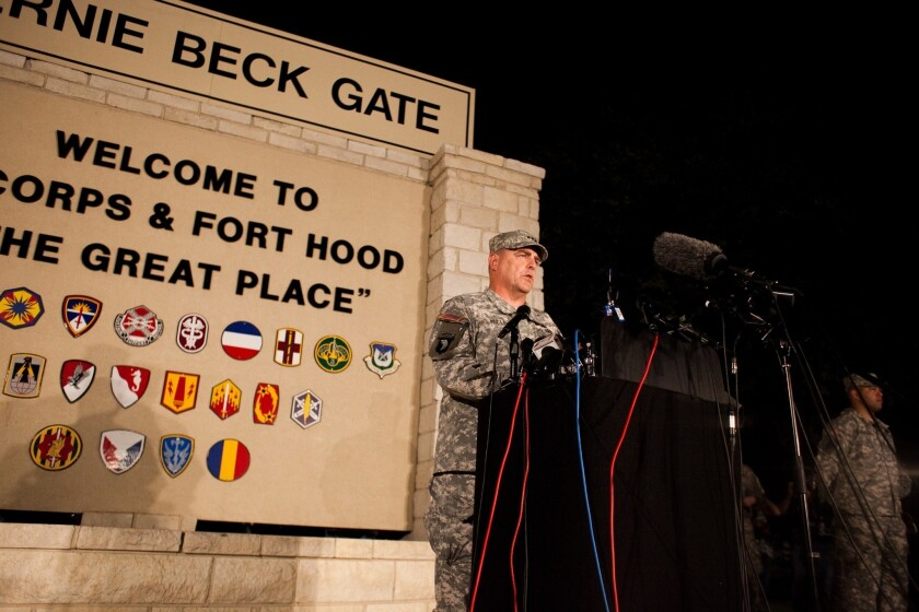 Gen. Mark Milley, Ft. Hood's commanding officer, speaks at a news conference about the latest shooting at the base.