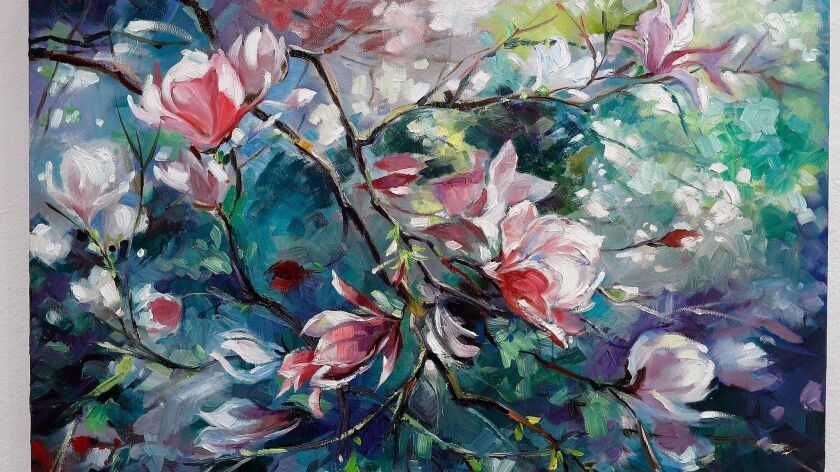 "A painting by Mina Ferrante called ""Magnolia"" hangs at the Creative Arts Center where the Burbank Art Assn. is hosting its annual fall exhibit."
