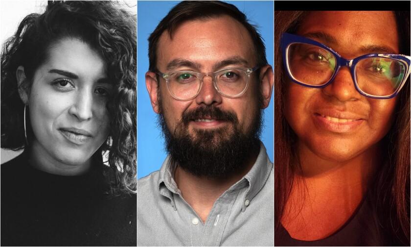 Side-by-side portraits of Paula Mejía, Matt Brennan, Dawn Burkes
