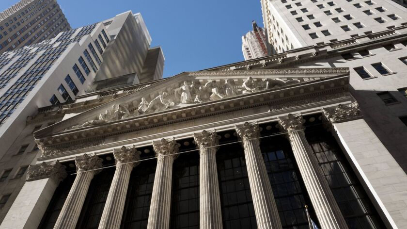 The New York Stock Exchange, where stocks traded lower on trade fears and political turmoil.