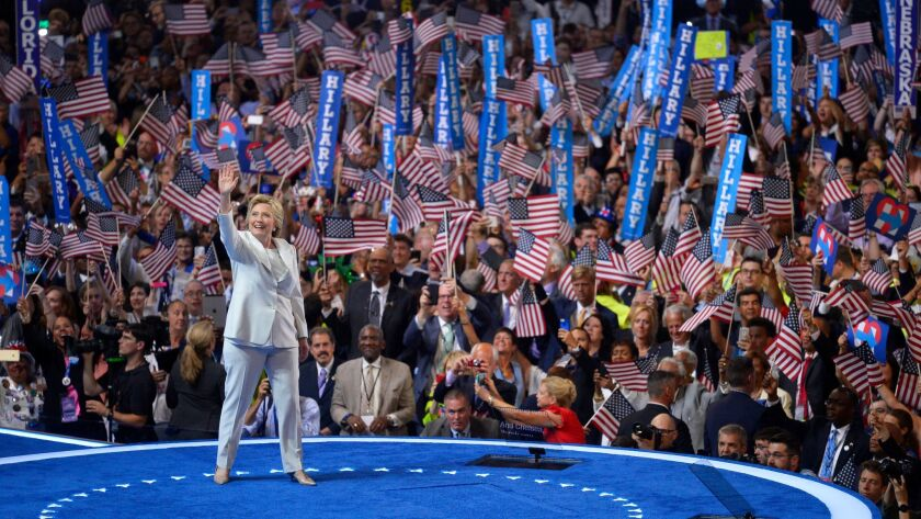 Hillary Clinton at the Democratic National Convention in Philadelphia in July 2016.