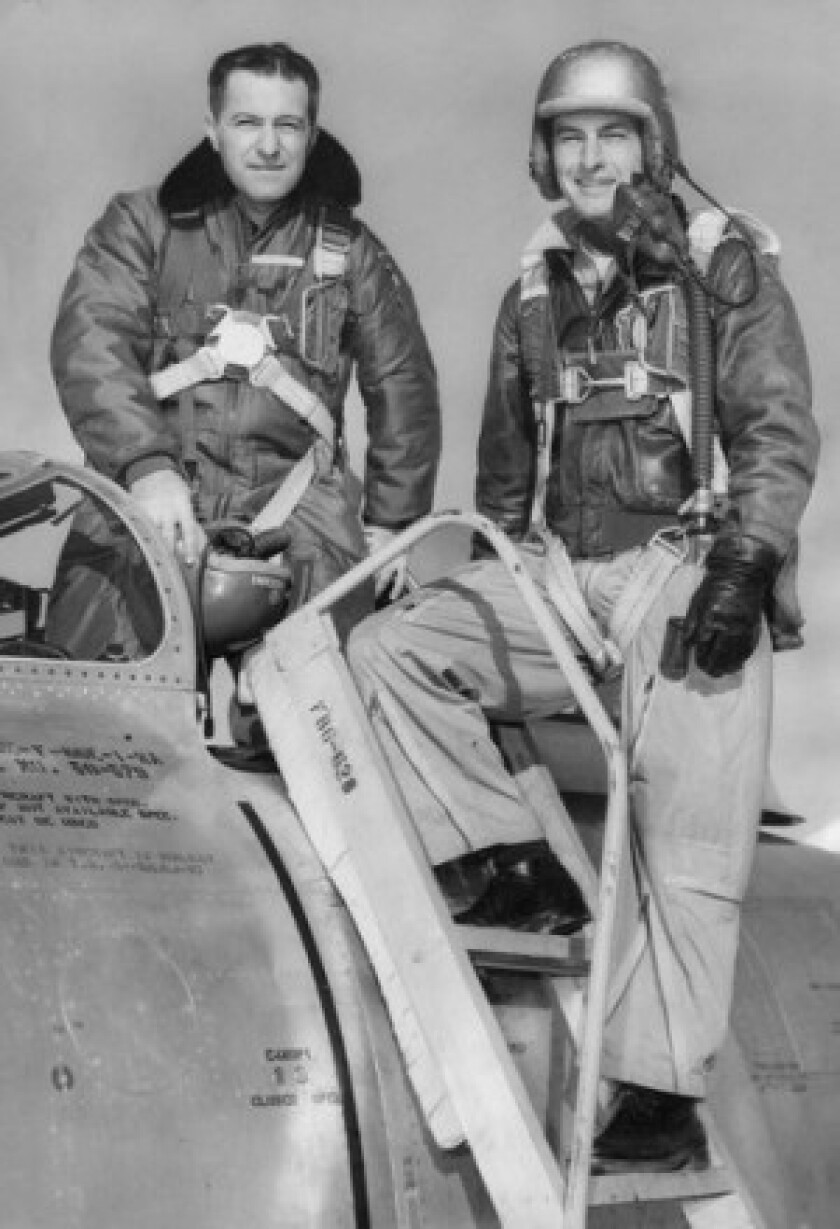 Fred J. Ascani, left, poses with Maj. F.K. Everest in 1951 before testing a Sabre jet at Edwards Air Force Base.