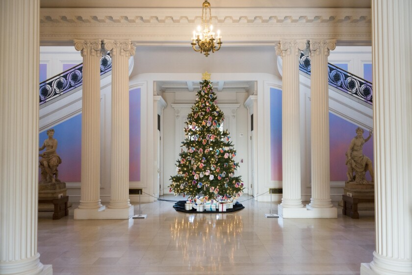 Contemporary artist Alex Israel is doing a series of installations at the Huntington's European art galleries in San Marino. The Christmas tree is decorated with self-portraits of the artist and is capped by a Star of David.