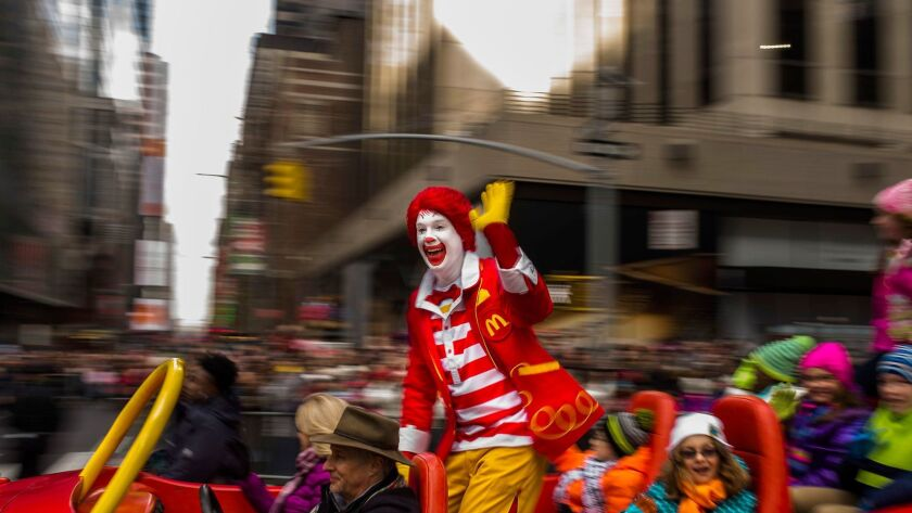 Ronald McDonald waves to the crowd at last year's Macy's Thanksgiving Day Parade.