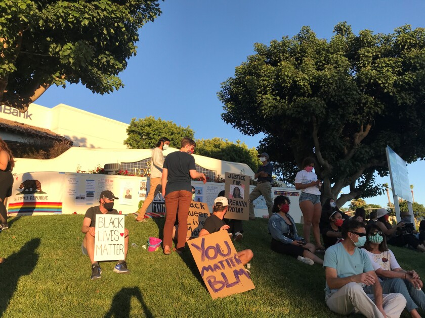The rally in Rancho Penasquitos Tuesday evening.