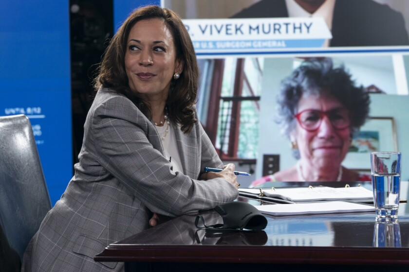 Democratic presidential candidate former Vice President Joe Biden's running mate Sen. Kamala Harris, D-Calif., and Biden receive a virtual briefing on COVID-19 from public health experts in Wilmington, Del., Thursday, Aug. 13, 2020. (AP Photo/Carolyn Kaster)