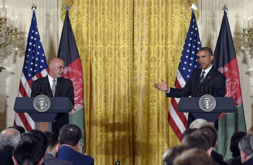 President Obama speaks during a joint news conference with Afghan President Ashraf Ghani at the White House on Tuesday.