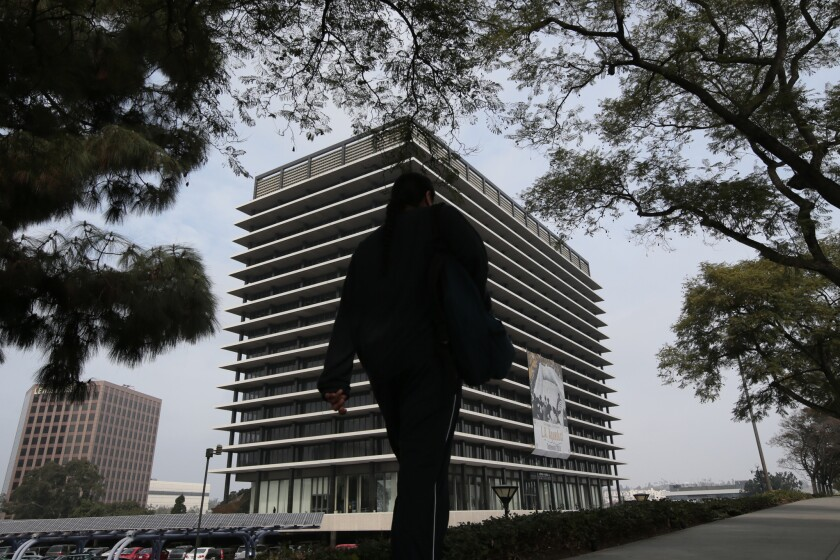 The Department of Water and Power building in Los Angeles. An audit shows at least a $681-million shortfall in the agency's billing.