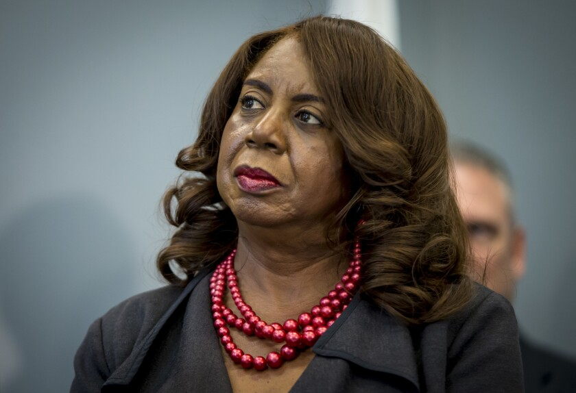Cook County Circuit Court Clerk Dorothy Brown attends a bill signing Thursday, Aug. 24, 2017 at the