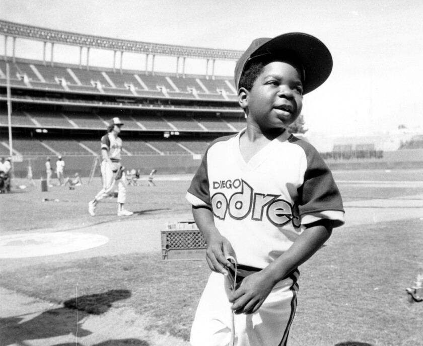 "Actor Gary Coleman stands on the field at San Diego Stadium in 1979 during production of ""The Kid From Left Field."""