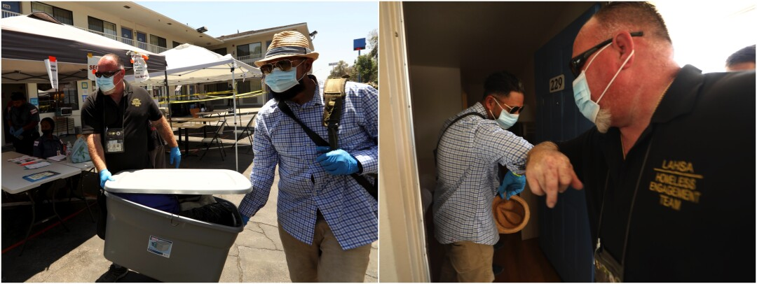 Outreach worker John Oliver helps Aguirre move Aguirre's belongings.
