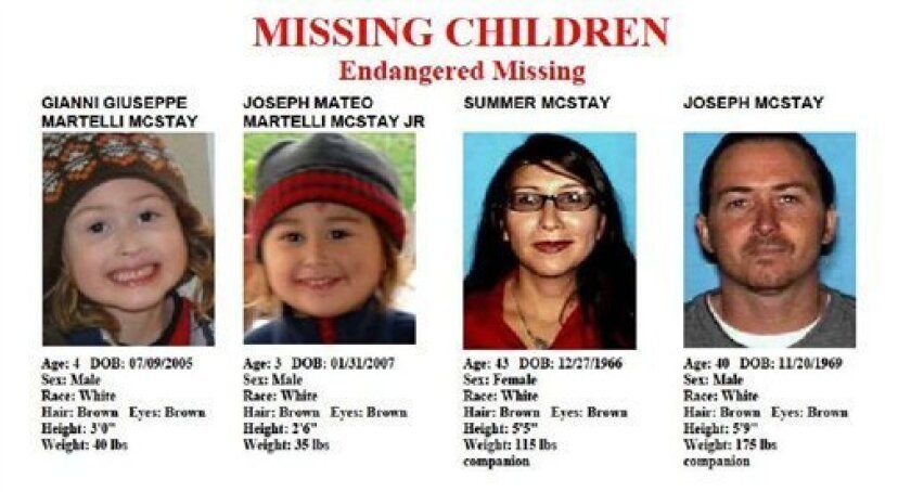 The missing flyer for the McStay family of Fallbrook. Shown from left are, Gianni Giuseppe; Joseph Mateo; Summer and Joseph.