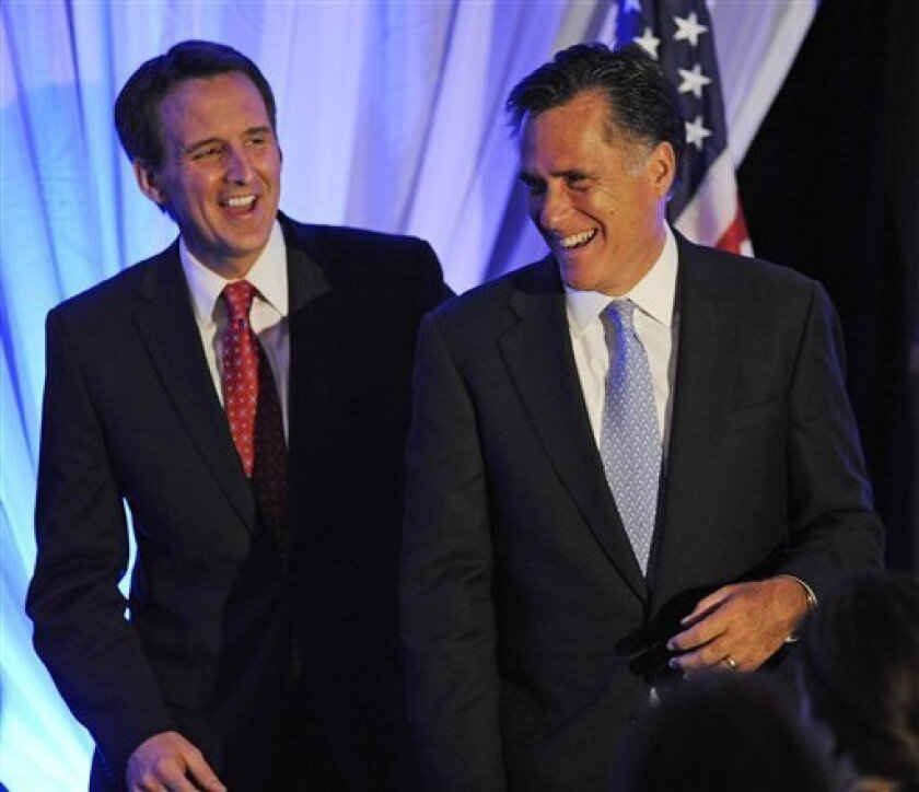 FILE - In this April 9, 2010, file photo Minnesota Gov. Tim Pawlenty , left, gives former Massachusetts. Gov. Mitt Romney a pat on the back at a conservative Freedom Foundation of Minnesota event in Bloomington, Minn. The 2012 Republican presidential field is deeply flawed, lacking a serious GOP contender without a personal misstep or policy move that angers the party base. Those weighing bids have at least one issue that looms as an obstacle to their White House ambitions, and that could derail them if not handled with care. (AP Photo/Craig Lassig, File)