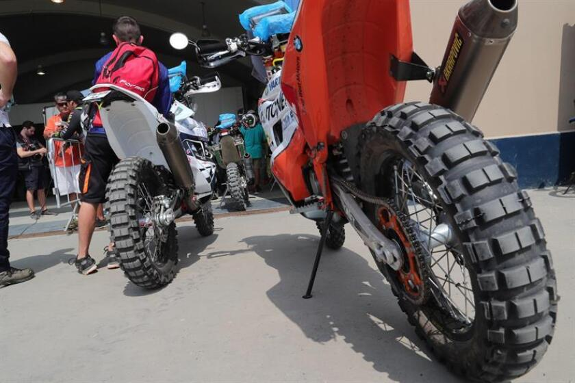 Photo taken Jan. 5, 2019, in Lima of motorcycles to be used in the Dakar 2019 Rally. EFE-EPA/ Ernesto Arias