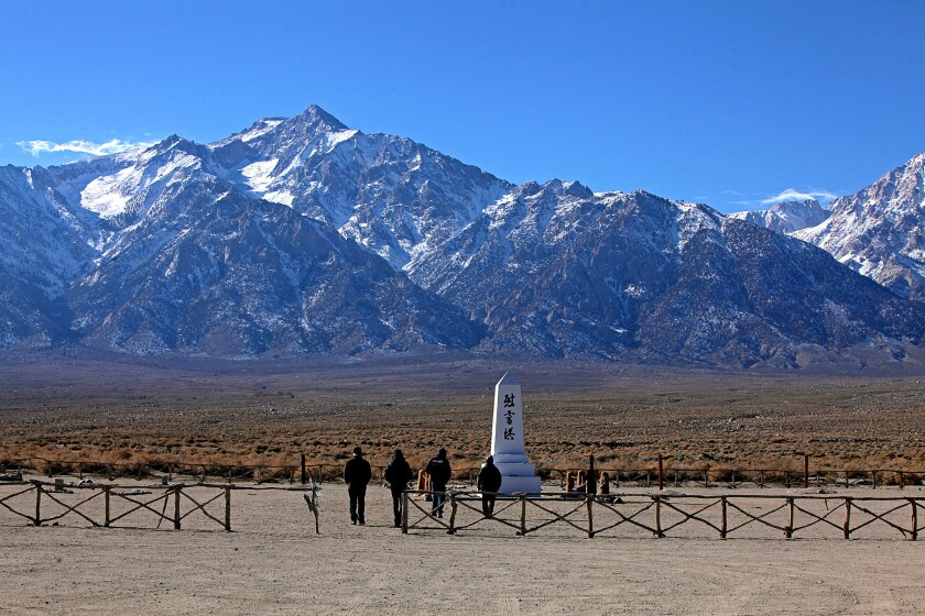 The cemetery monument at the former Japanese American internment camp of Manzanar.