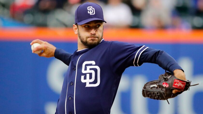 Padres starter Jarred Cosart delivers a pitch during the first inning of a game against the New York Mets Wednesday, May 24, 2017, in New York.