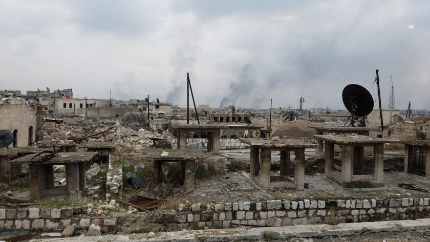 A view from the roofs of East Aleppo shows devastation from four years of war.