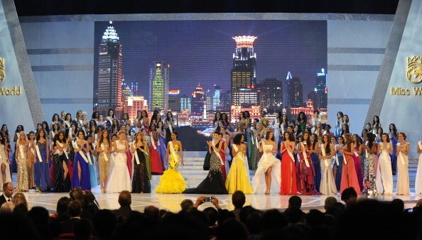 Contestants take part in the Miss World 2010 Beauty Pageant finals at the Beauty Crown Theatre in the southern Chinese resort town of Sanya on October 30, 2010.