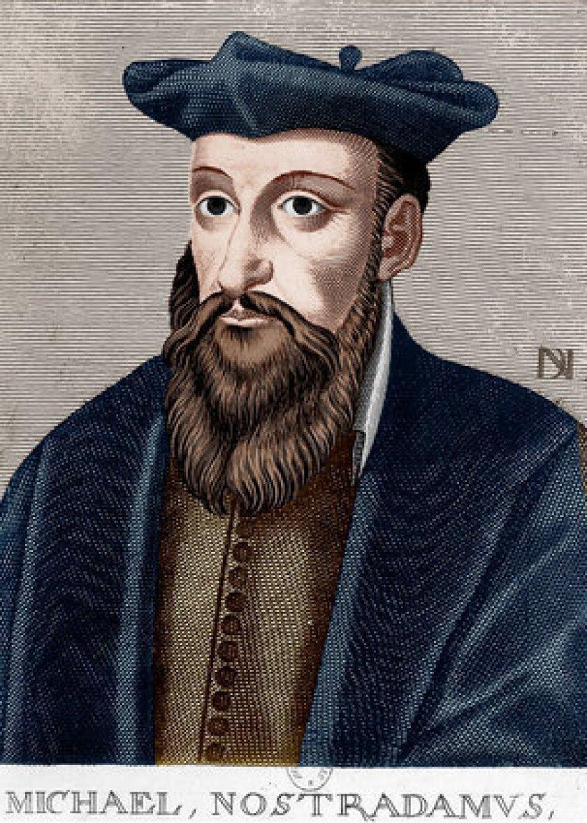 An engraving of Michel de Nostredame, known as Nostradamus.