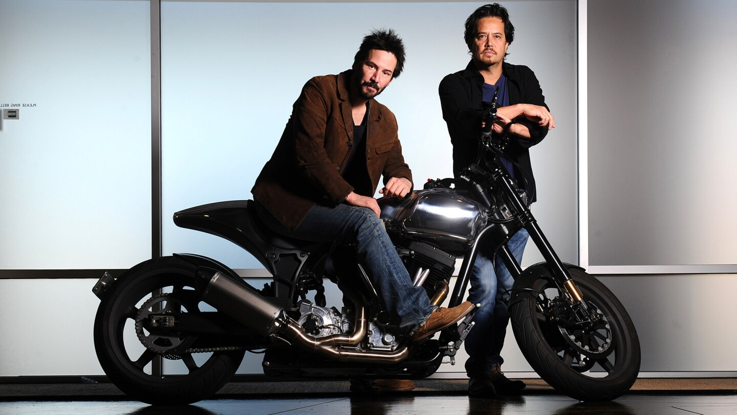 Actor Keanu Reeves, left, and Gard Hollinger have teamed to create Arch Motorcycle Co., which makes high-performance -- and very expensive -- motorcycles in Hawthorne.