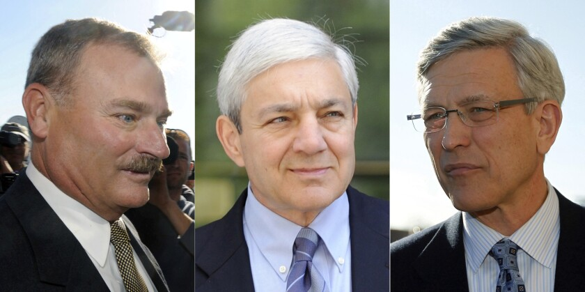 From left to right, former Penn State Vice President Gary Schultz, former Penn State President Graham Spanier and former Penn State Director of Athletics Tim Curley.