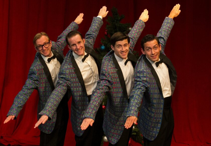 "Daniel Filippi, Conor Tibbs, Bryan Banville and Charles Evans in ""Plaid Tidings."""