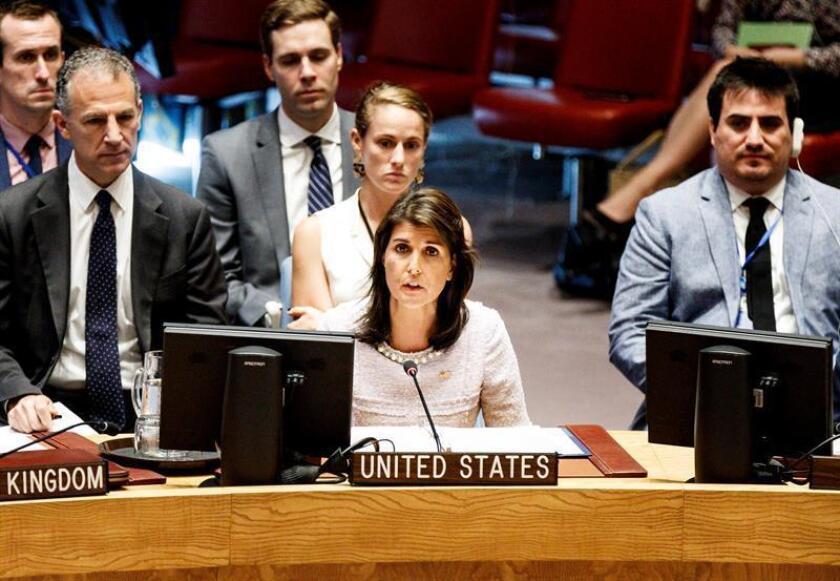 La embajadora estadounidense ante Naciones Unidas, Nikki Haley, que este mes preside el Consejo de Seguridad, anunció que el Consejo se reunirá esta viernes para analizar la inminente ofensiva del Gobierno sirio y sus aliados en la provincia de Idleb, el último bastión de los rebeldes. EFE/ARCHIVO