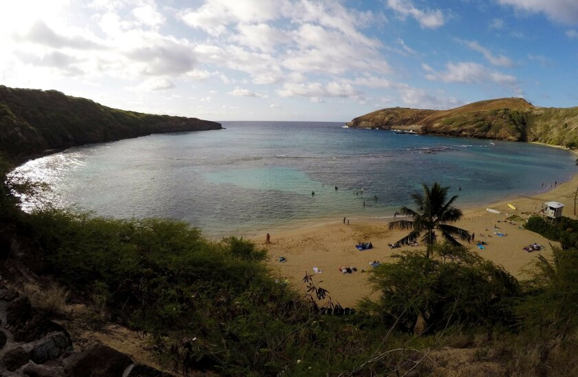 In this May 11, 2016 photo, people swim in Oahu's Hanauma Bay near Honolulu. Hanauma Bay is No. 1 on the list of best beaches for the summer of 2016 compiled by Stephen Leatherman, also known as Dr. Beach, a professor at Florida International University. (AP Photo/Caleb Jones)