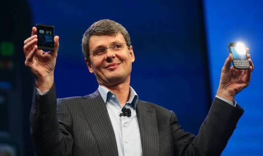 BlackBerry and Facebook executives reportedly met last week about a possible bid for the smartphone maker. Above, BlackBerry Chief Executive Thorsten Heins early this year.