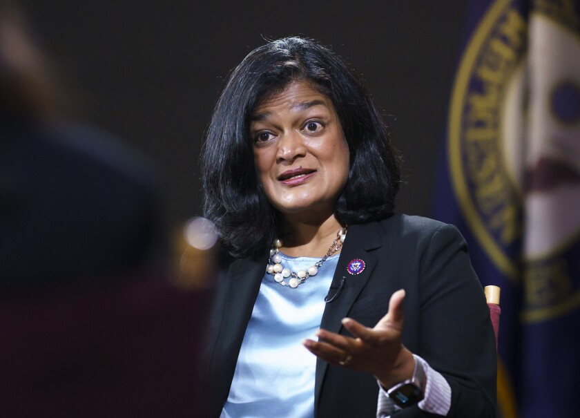 Rep. Pramila Jayapal, D-Wash., chair of the nearly 100-member Congressional Progressive Caucus, talks to The Associated Press about her goals as a champion of human rights issues, and President Joe Biden's domestic agenda, at the Capitol in Washington, Thursday, Oct. 7, 2021. Now in her third term, Jayapal represents Washington's 7th District and is the first South Asian-American woman elected to the House of Representatives. (AP Photo/J. Scott Applewhite)
