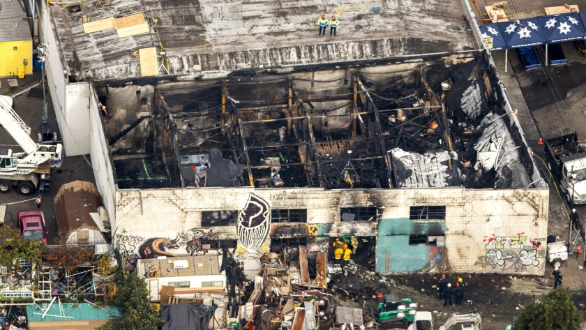 The ruins of the Ghost Ship warehouse in Oakland, the site of a fire that killed at least 36 people, are seen from above on Dec. 5.