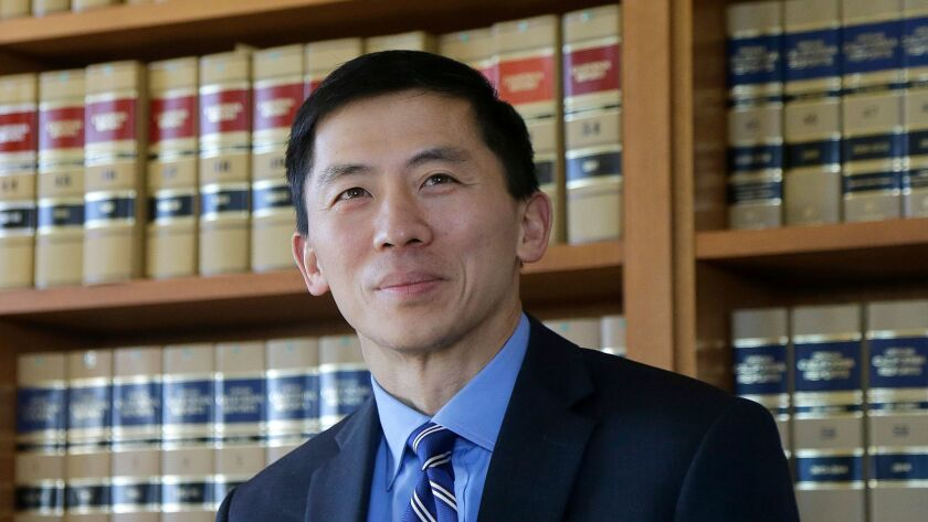 California Supreme Court Justice Goodwin Liu is interviewed in his office in San Francisco on Jan. 13.