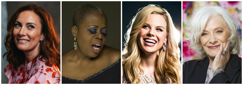 Stars taking their cabaret acts on the road include, Laura Benanti, from left, Lillias White, Megan Hilty and Betty Buckley.