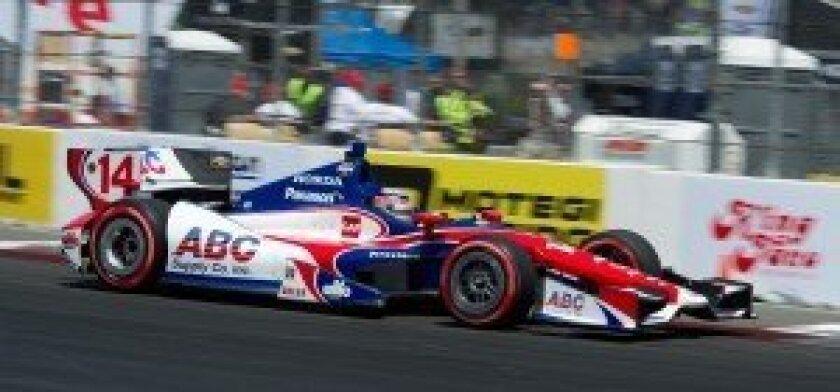 Takuma Sato qualifying for Sunday's IndyCar race