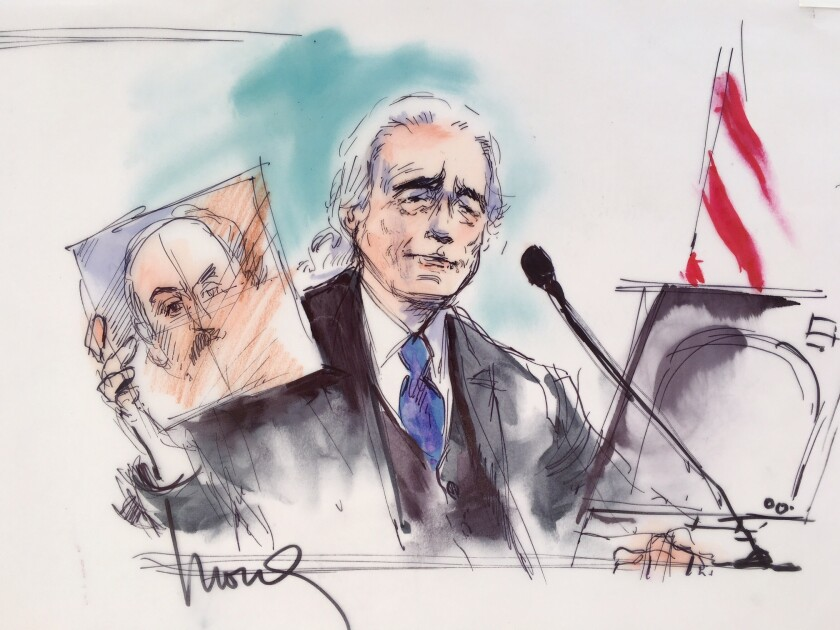 Artist sketch of Jimmy Page on the stand in the Led Zeppelin plagiarism trial.