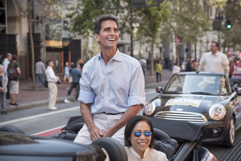 State Sen. Mark Leno (D-San Francisco) greets the crowd during a parade in downtown San Francisco in 2016.