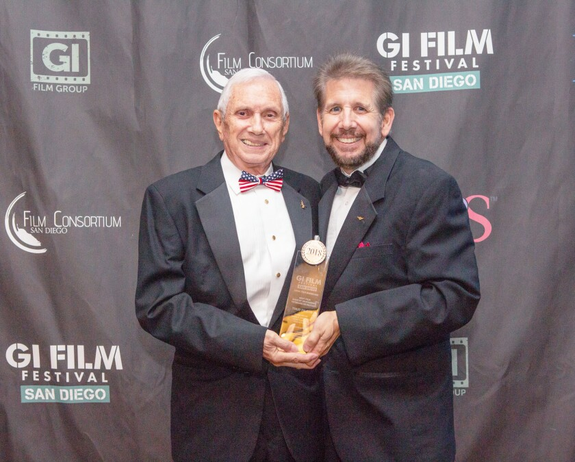 Retired Air Force Col. Victor Vizcarra and his son, Mark Vizcarra, at the 2018 GI Film Festival San Diego.