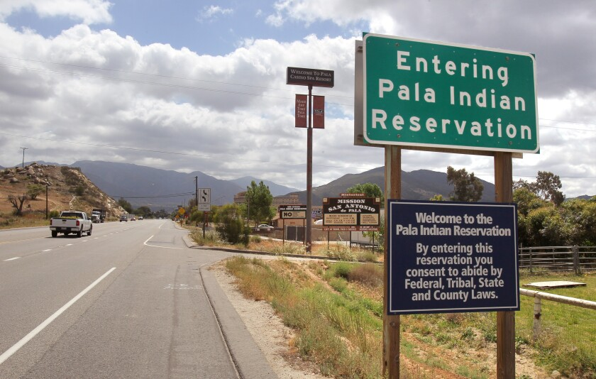 View of signage along westbound Highway 76 approaching the Pala Casino and hotel resort.