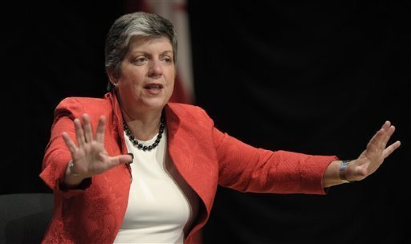 Homeland Security Secretary Janet Napolitano speaks at the Intelligence and National Security Alliance conference about the evolving threat and intelligence in Washington, Wednesday, Sept. 7, 2011. (AP Photo/Susan Walsh)