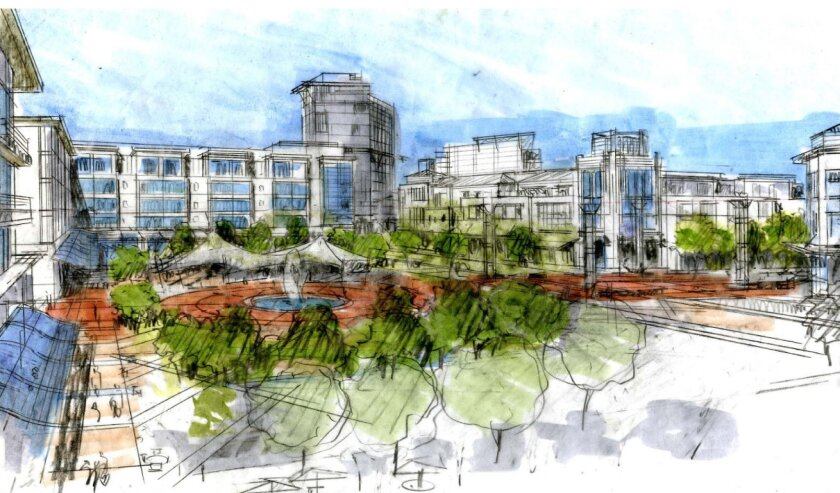 Artist's rendering shows what the mixed-use portion of the Eastern Urban Center might look like.