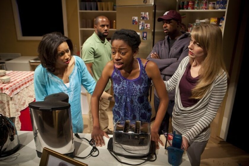 """Lorene Chesley, Anthony Hawkins Woods, Diona Reasonover, Matt Orduna and Elizabeth M. Kelly (left to right) in a scene from """"Stick Fly."""""""