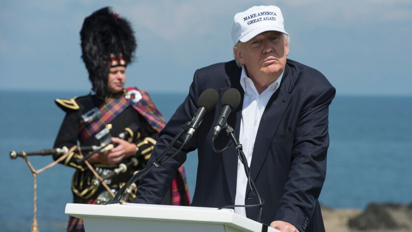 """Donald Trump hailed Britain's vote to leave the European Union as """"fantastic"""" shortly after arriving in Scotland on Friday for his first international trip since becoming the presumptive Republican presidential nominee."""
