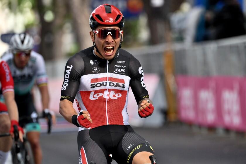 Australia's Caleb Ewan celebrates winning the 5th stage of the Giro d'Italia tour of Italy cycling race, from Modena to Cattolica, Italy, Wednesday, May 12, 2021. (Gian Mattia D'Alberto/LaPresse via AP)