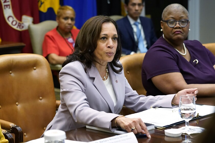 Vice President Kamala Harris speaks during a meeting with women leaders on voting rights in the Roosevelt Room of the White House, Friday, July 16, 2021, in Washington. (AP Photo/Patrick Semansky)