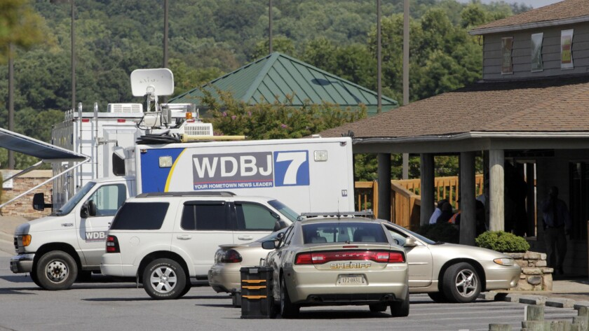 The TV truck that journalists Alison Parker and Adam Ward drove before they were killed during a live broadcast nearby.