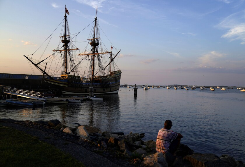 "The Mayflower II, a replica of the original Mayflower ship that brought the Pilgrims to America 400 year ago, is docked in Plymouth, Mass., days after returning home following extensive renovations, Wednesday, Aug. 12, 2020. A disease outbreak that wiped out large numbers of the Native inhabitants of what is now New England gave the Pilgrims a beachhead in the ""New World."" So, some historians find it ironic that a pandemic has put many of the 400th anniversary commemorations of the Mayflower's landing on hold. (AP Photo/David Goldman)"