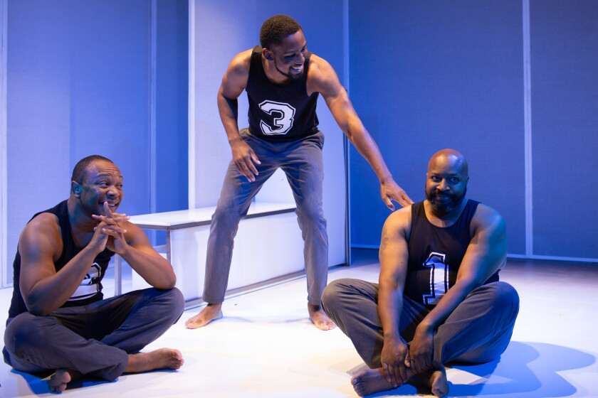 """Kevane La'Marr Coleman, left, Carter Piggee and Durwood Murray in Diversionary Theatre's """"One in Two."""""""