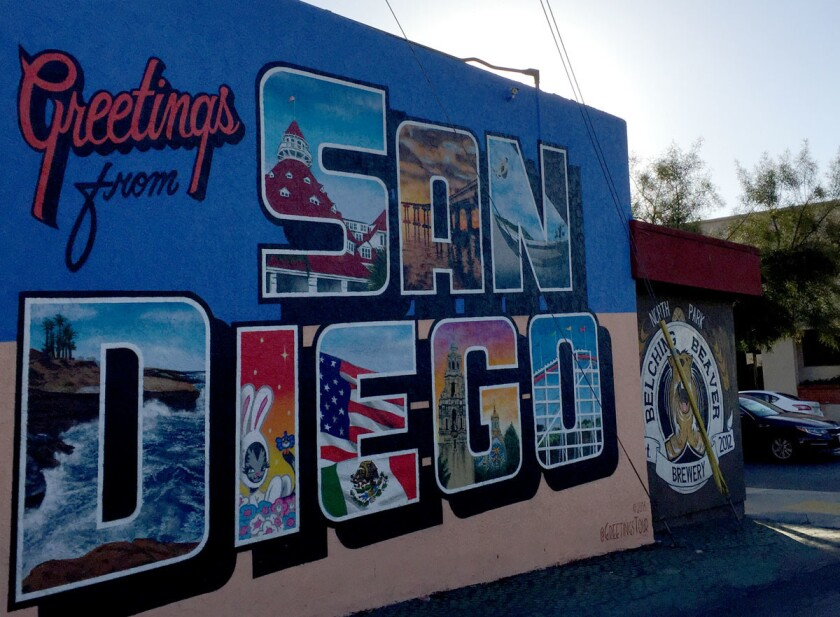 "Greetings from San Diego mural from the Greetings Tour's muralist Victor ""Ving"" Fung and photographer Lisa Beggs. The mural is located on the side of Belching Beaver Brewery at 4223 30th St. in North Park. (Leslie Hackett)"