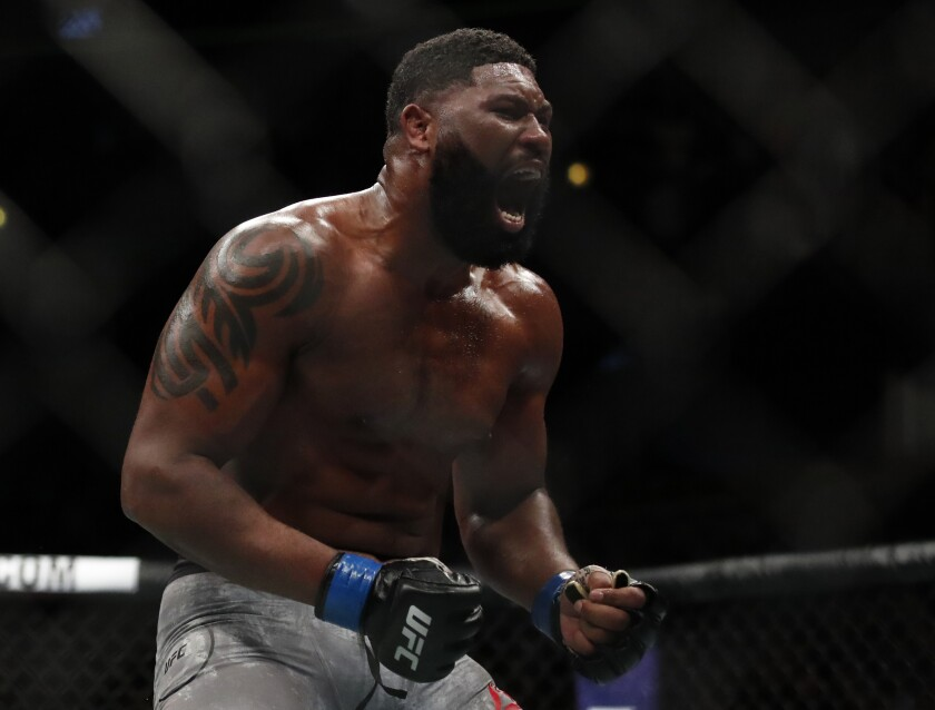 Curtis Blaydes celebrates a win over Alistair Overeem during UFC 225 on June 9, 2018, in Chicago.