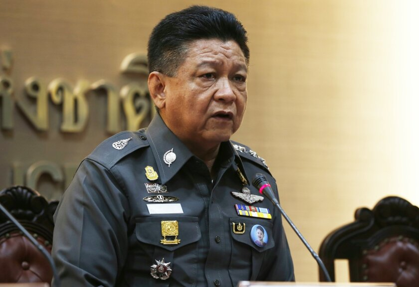 Thai police spokesman Prawut Thawornsiri speaks at a news conference in Bangkok, Thailand, Wednesday, Aug. 26, 2015. More than one week after the Aug. 17 bombing at the capital's revered Erawan Shrine, which left 20 people dead and more than 120 injured, police appeared no closer to tracking down suspects or determining a motive for the attack. (AP Photo/Penny Yi Wang)